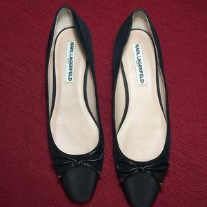Karl Lagerfeld Black Satin-Toe Ballet Flats